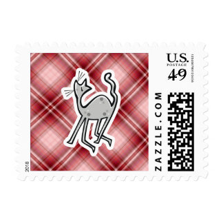 Cute Cat; Red Plaid Postage Stamp