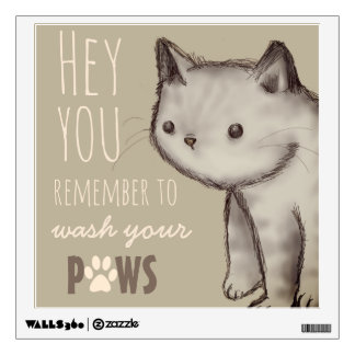 Cute Cat Reminder Wash Your Hands Wall Sticker