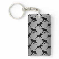 Cute Cat Silhouette Pattern Keychain