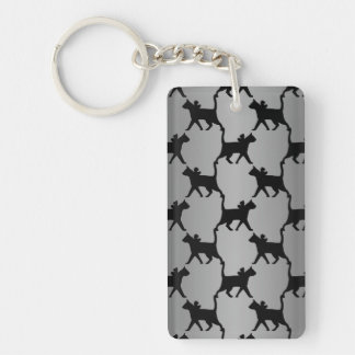 Cute Cat Silhouette Pattern Keychain