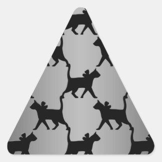 Cute Cat Silhouette Pattern Triangle Sticker