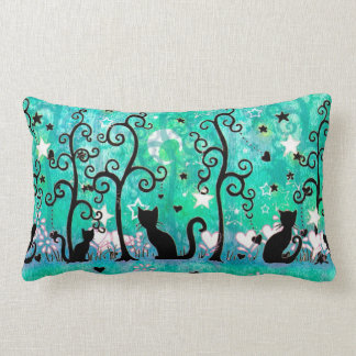 Cute Cat Silhouettes Fun Illustration Lumbar Pillow