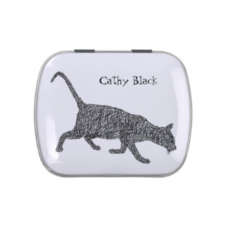 Cute cat sketch black and white drawing jelly belly tin