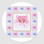 Cute Cat Sketch Pink and Blue tiled around Round Sticker