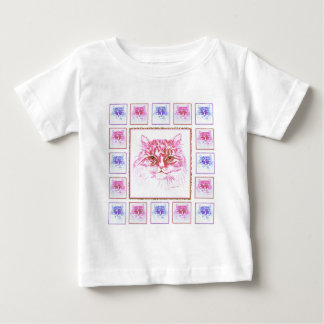 Cute Cat  Sketch Pink and Blue Tiled Baby T-Shirt
