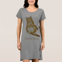 cute cat sleeping ginger kitten art design dress