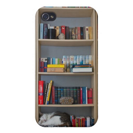 Cute cat sleeping on bookshelf library books iPhone 4 case