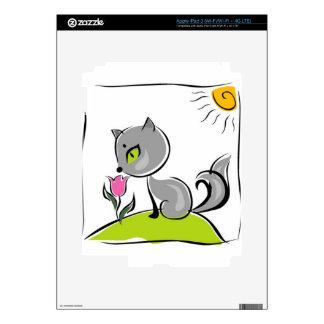 Cute cat smelling a pink tulip iPad 3 skin