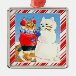 Cute cat snowman candy cane Christmas ornament
