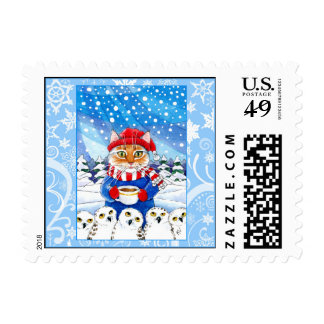 Cute cat, snowy owl winter nature postage