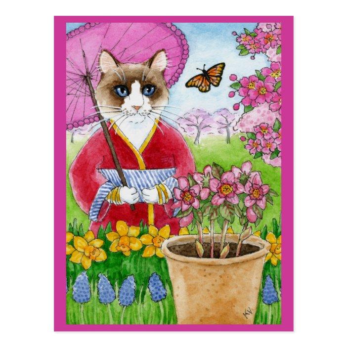 Cute Cat Spring Garden Pink Postcard Zazzle Com