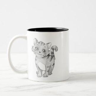 cute cat T-shirt Two-Tone Coffee Mug