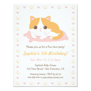 Cute Cat Themed Birthday Party Invitations