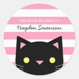 Cute Cat | This Book Belongs To Classic Round Sticker