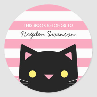 Cute Cat | This Book Belongs To Classic Round Sticker