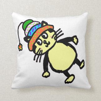 Cute cat throw pillow - white
