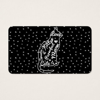 Cute Cat Typography Black White Polka Dots Business Card