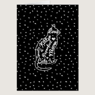 Cute Cat Typography Black White Polka Dots Card