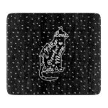 Cute Cat Typography Black White Polka Dots Cutting Board