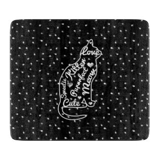 Cute Cat Typography Black White Polka Dots Cutting Boards
