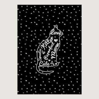 Cute Cat Typography Black White Polka Dots Poster