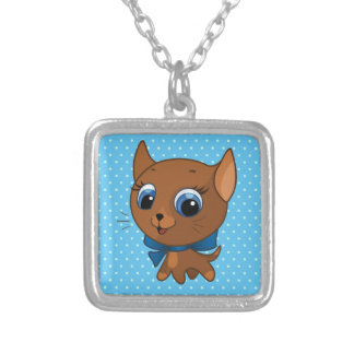 Cute cat vector illustration silver plated necklace