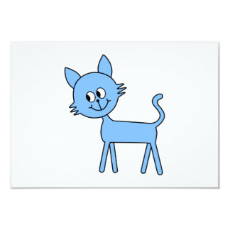 Cute Cat. Walking Pale Blue Cat. Card