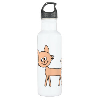 Cute Cat. Walking Pale Ginger Cat. Stainless Steel Water Bottle