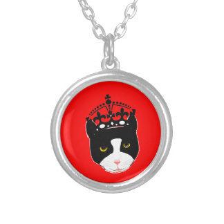 Cute Cat wearing a Crown Round Pendant Necklace