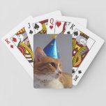 "Cute Cat Wearing Blue Party Hat Playing Cards<br><div class=""desc"">This photo is from my &quot;Kitty Koolness&quot; Collection,  featuring an orange and white cat wearing a blue party hat. Photo by designer.</div>"