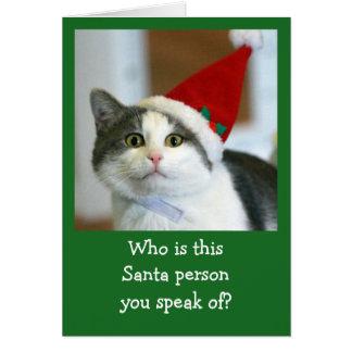 Cute Cat Wearing Santa Hat Card