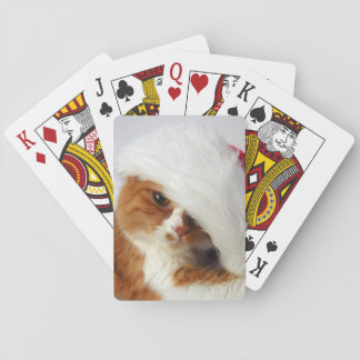 Cute Cat Wearing Santa Hat Playing Cards