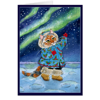 Cute cat, winter, northern lights, funny Christmas Greeting Card