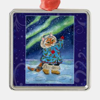 Cute cat winter snow northern lights metal ornament