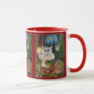 Cute cat witch, owl, fairy tale nature mug