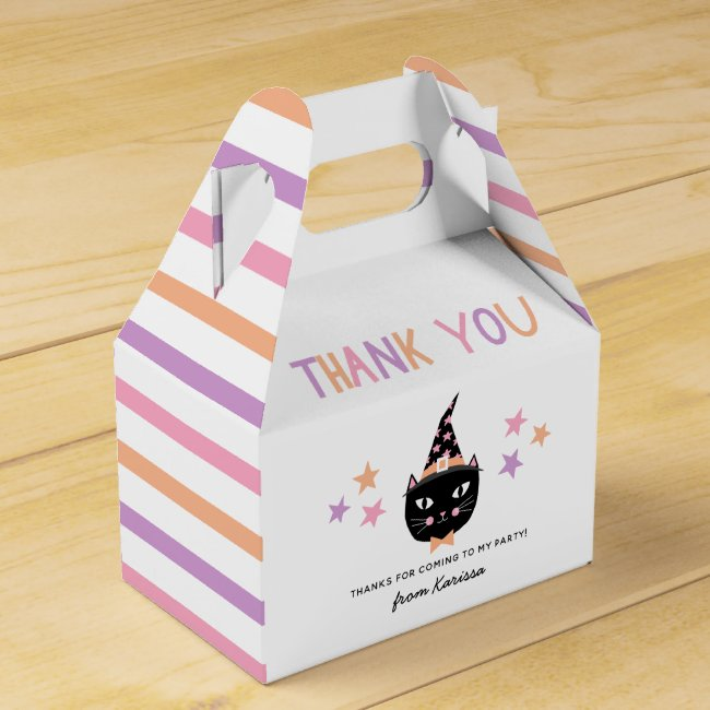 Cute Cat Witch Pastel Halloween Birthday Name Favor Box