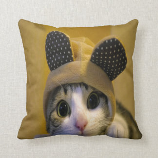 Cute Cat with Big Eyes in a Dressed of Animal Ears Throw Pillow