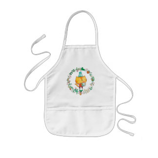 Cute Cat with big gift box Baby Apron