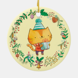 Cute Cat with big gift box Christmas Ornamnet Double-Sided Ceramic Round Christmas Ornament