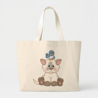 Cute Cat with Bird tote reusable shopping bag
