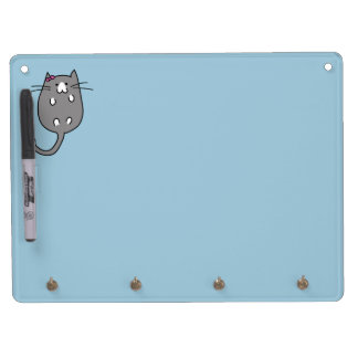 Cute Cat with Bow Dry Erase Board With Keychain Holder