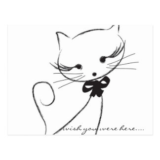 Cute Cat with Bow Postcard