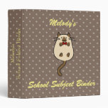 Cute Cat with Bow Tie 3 Ring Binder