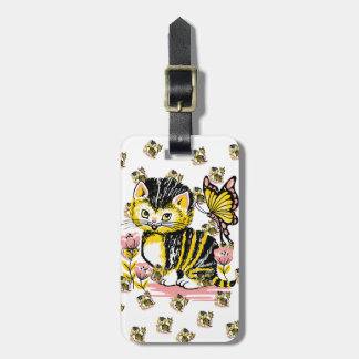 Cute cat with butterfly on flower illustration luggage tag