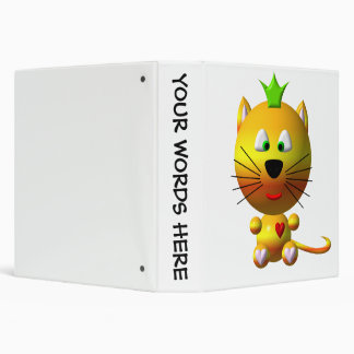 Cute cat with crown and hearts binder