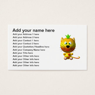 Cute cat with crown and hearts business card