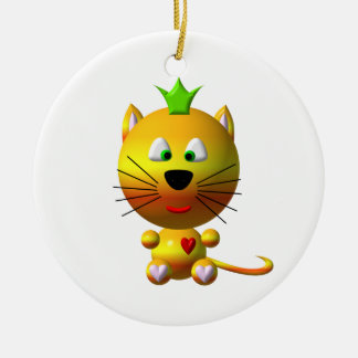 Cute cat with crown and hearts ceramic ornament