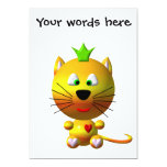 Cute cat with crown and hearts 5x7 paper invitation card