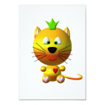 Cute cat with crown and hearts 3.5x5 paper invitation card