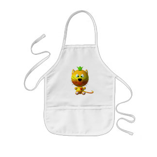 Cute cat with crown and hearts kids' apron